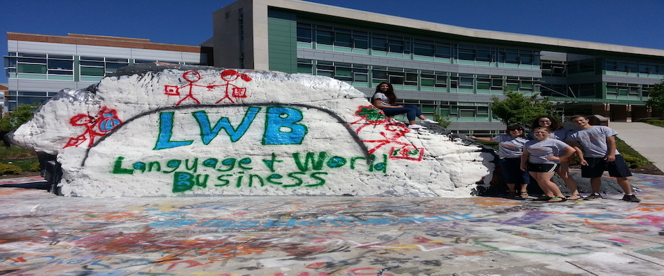 Language and World Business Student Association Painting UT Rock!